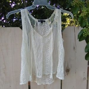 AE Peasant Sheer embroidered tank blouse top
